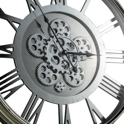 Transitional Mirrored Gears Wall Clock 54cm Centre 42164