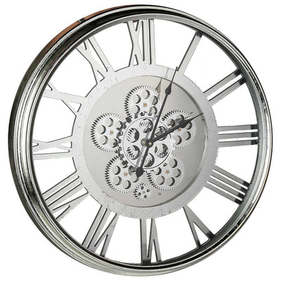 Transitional Mirrored Gears Wall Clock 54cm 42164 Angle