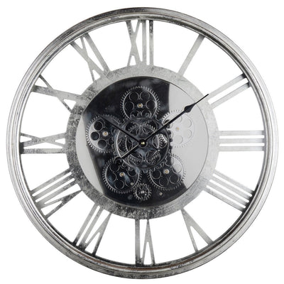 Transitional Mirrored Gears Wall Clock 54cm Front 42164