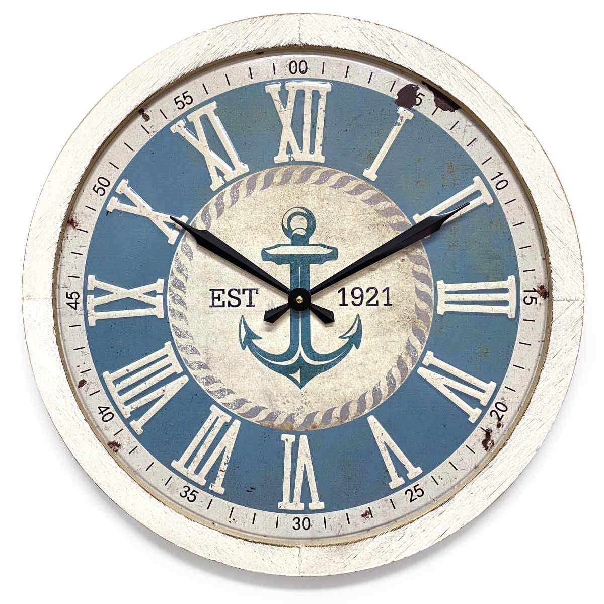 Victory Anchor Stamped Iron Wood Frame Wall Clock 60cm CHH-993 1