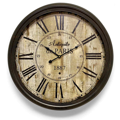 Victory Antique De Paris Distressed Vintage Metal Wall Clock 60cm CHH-344 1