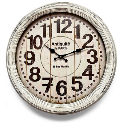 Victory Antique Paris Vintage Metal Wall Clock Distressed White 47cm CHH-551W 1