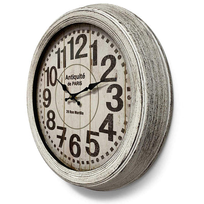 Victory Antique Paris Vintage Metal Wall Clock Distressed White 47cm CHH-551W 2