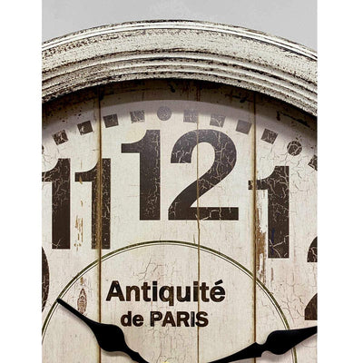 Victory Antique Paris Vintage Metal Wall Clock Distressed White 47cm CHH-551W 4