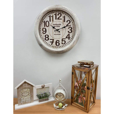 Victory Antique Paris Vintage Metal Wall Clock Distressed White 47cm CHH-551W 5