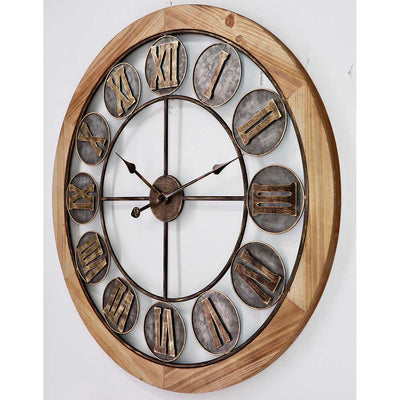 Victory Aramis Floating Roman Discs Metal Wood Wall Clock 80cm CEW 1907 1