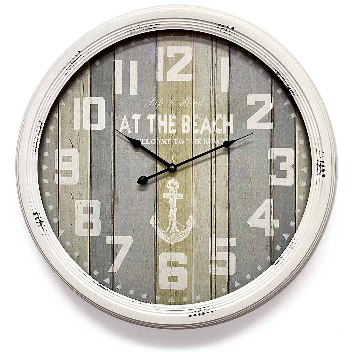 Victory At The Beach Extra Large Vintage Metal Wall Clock White 62cm CHH 322 2