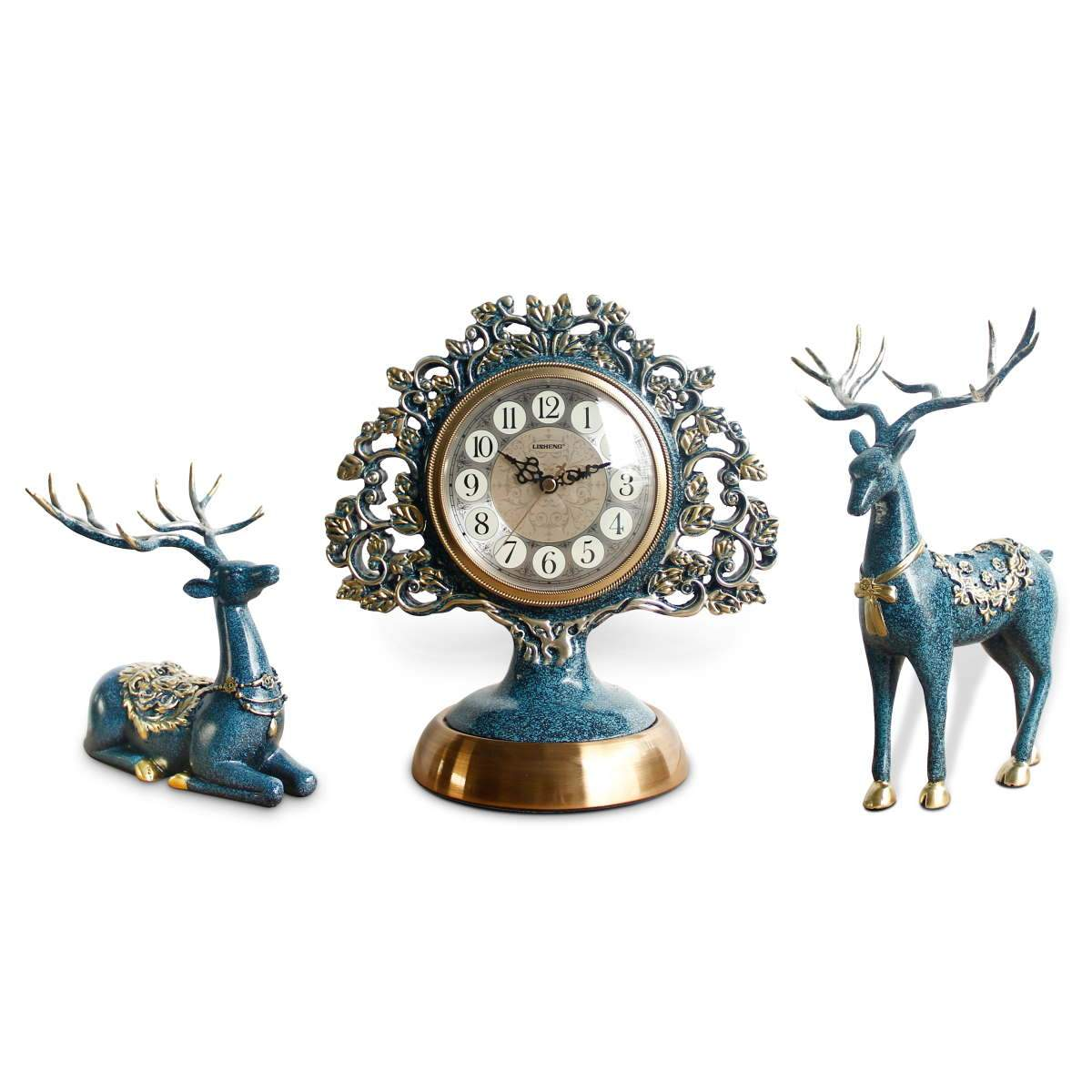 Victory Azalea Ornate Copper and Resin Deer Desk Clock Blue 29cm TSS-1590B 10