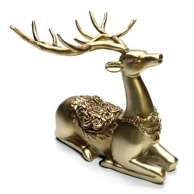 Victory Azalea Ornate Copper and Resin Deer Desk Clock Gold 29cm TSS-1591G 2