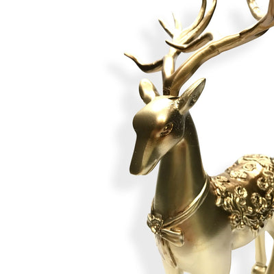 Victory Azalea Ornate Copper and Resin Deer Desk Clock Gold 29cm TSS-1591G 4