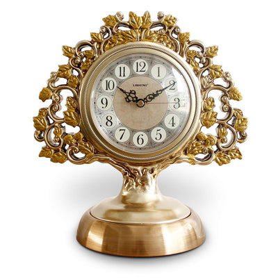 Victory Azalea Ornate Copper and Resin Deer Desk Clock Gold 29cm TSS-1591G 6