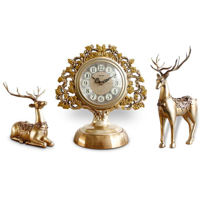 Victory Azalea Ornate Copper and Resin Deer Desk Clock Gold 29cm TSS-1591G 8
