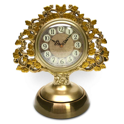 Victory Azalea Ornate Copper and Resin Deer Desk Clock Gold 29cm TSS-1591G 1