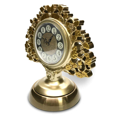 Victory Azalea Ornate Copper and Resin Deer Desk Clock Gold 29cm TSS-1591G 9
