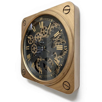 Champs Elysees Square Moving Gears Wall Clock, Bronze, 49cm