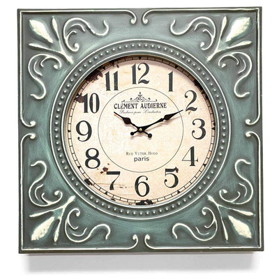 Victory Clement Audierne Green Pressed Metal Flower Frame Wall Clock 60cm CHH-881 1