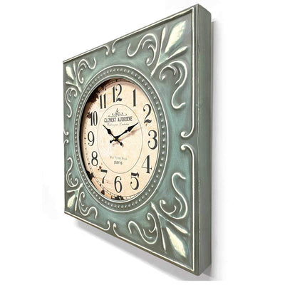 Victory Clement Audierne Green Pressed Metal Flower Frame Wall Clock 60cm CHH-881 2