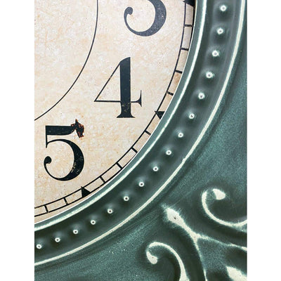 Victory Clement Audierne Green Pressed Metal Flower Frame Wall Clock 60cm CHH-881 3