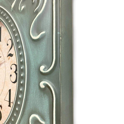 Victory Clement Audierne Green Pressed Metal Flower Frame Wall Clock 60cm CHH-881 4