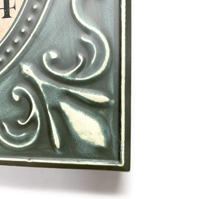 Victory Clement Audierne Green Pressed Metal Flower Frame Wall Clock 60cm CHH-881 5