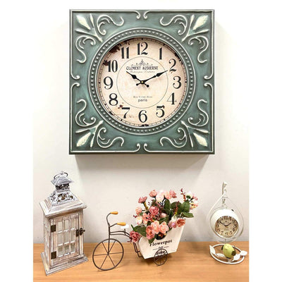 Victory Clement Audierne Green Pressed Metal Flower Frame Wall Clock 60cm CHH-881 8