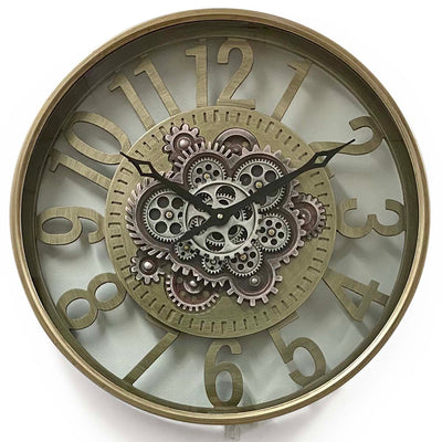 Victory Dionysus Metal Moving Gears Wall Clock 59cm CCM-1733 1