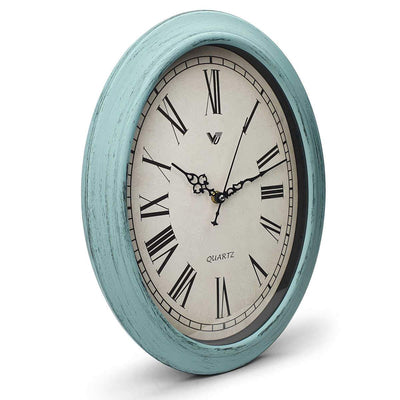 Victory Eleanor Oval Roman Wall Clock Vintage Blue 38cm CWH 6190 1