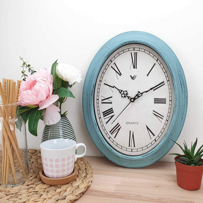Victory Eleanor Oval Roman Wall Clock Vintage Blue 38cm CWH 6190 2