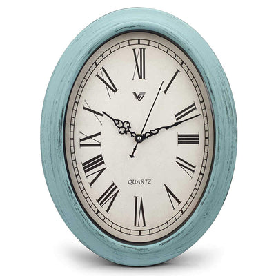 Victory Eleanor Oval Roman Wall Clock Vintage Blue 38cm CWH 6190 3