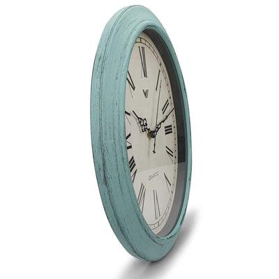 Victory Eleanor Oval Roman Wall Clock Vintage Blue 38cm CWH 6190 4