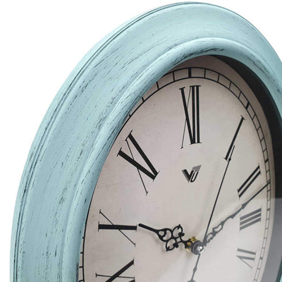 Victory Eleanor Oval Roman Wall Clock Vintage Blue 38cm CWH 6190 5