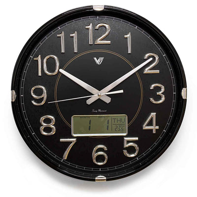 Victory Hardy Analogue with Digital Calendar Temp Wall Clock Black 40cm CHC-2373-BLA 1
