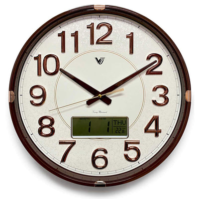 Victory Hardy Analogue with Digital Calendar Temp Wall Clock Cream 40cm CHC-2373-WHI 1