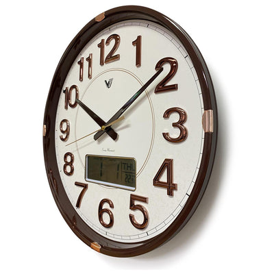 Victory Hardy Analogue with Digital Calendar Temp Wall Clock Cream 40cm CHC-2373-WHI 2