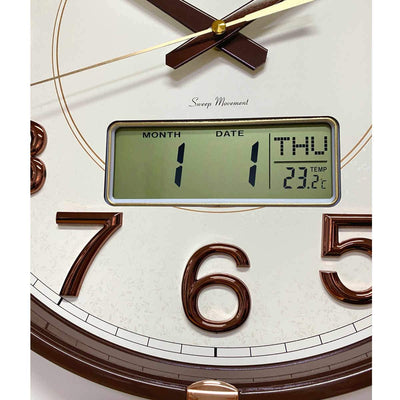 Victory Hardy Analogue with Digital Calendar Temp Wall Clock Cream 40cm CHC-2373-WHI 4