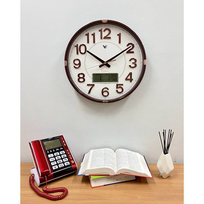 Victory Hardy Analogue with Digital Calendar Temp Wall Clock Cream 40cm CHC-2373-WHI 5