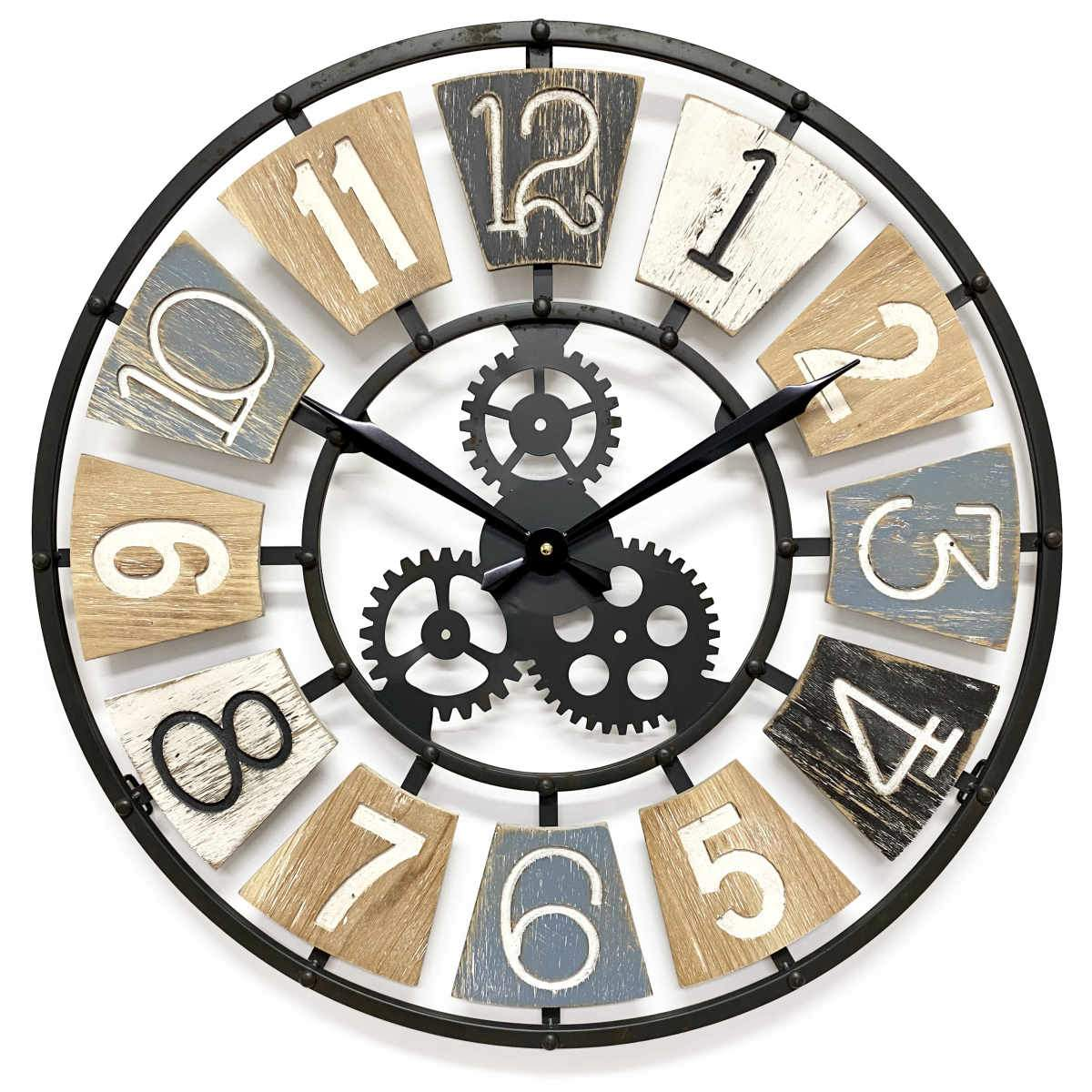 Victory Harland Metal and Wood Gears Wall Clock 60cm CHH-884 1