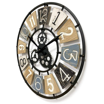 Victory Harland Metal and Wood Gears Wall Clock 60cm CHH-884 2