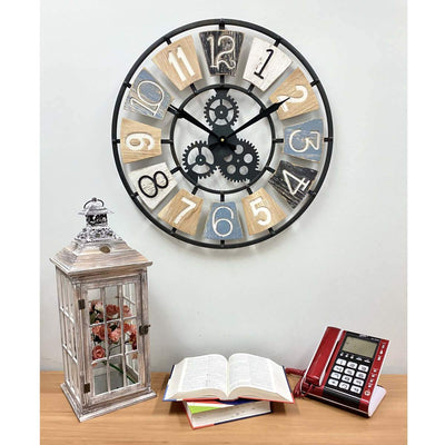 Victory Harland Metal and Wood Gears Wall Clock 60cm CHH-884 4