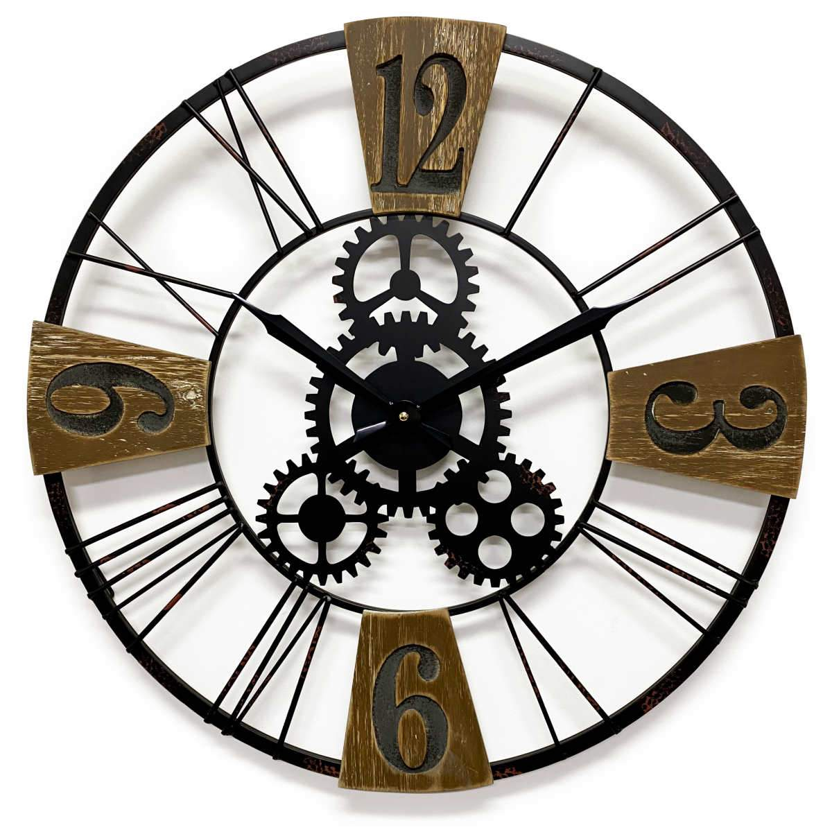 Victory Hendrix Metal and Wood Gears Wall Clock 60cm CHH-883 1