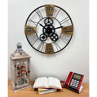 Victory Hendrix Metal and Wood Gears Wall Clock 60cm CHH-883 4