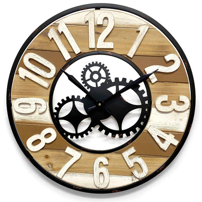 Victory Harlow Metal and Wood Panels Gears Wall Clock 60cm CHH-882 1