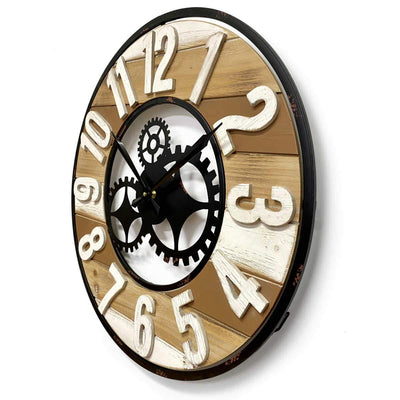 Victory Harlow Metal and Wood Panels Gears Wall Clock 60cm CHH-882 2