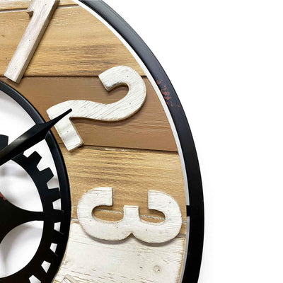 Victory Harlow Metal and Wood Panels Gears Wall Clock 60cm CHH-882 3