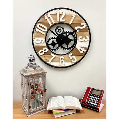 Victory Harlow Metal and Wood Panels Gears Wall Clock 60cm CHH-882 4