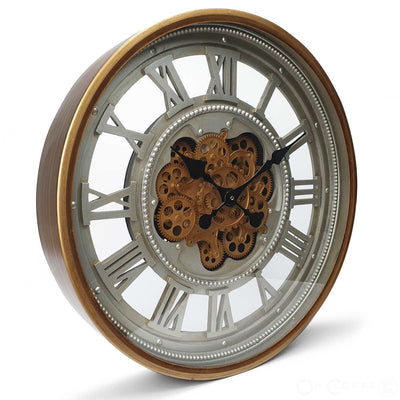 Victory Heracles Gold Luxurious Moving Gears Wall Clock Grey Roman 60cm CCM 7012 1