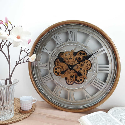 Victory Heracles Gold Luxurious Moving Gears Wall Clock Grey Roman 60cm CCM 7012 2