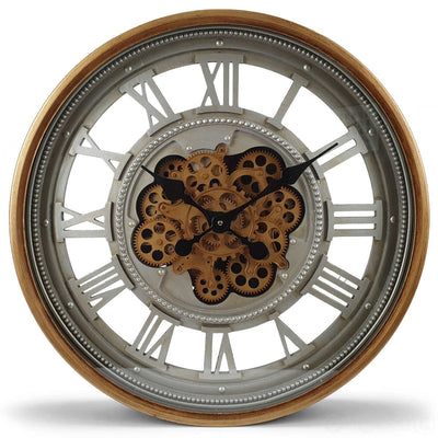 Victory Heracles Gold Luxurious Moving Gears Wall Clock Grey Roman 60cm CCM 7012 3