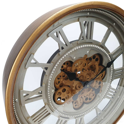Victory Heracles Gold Luxurious Moving Gears Wall Clock Grey Roman 60cm CCM 7012 5