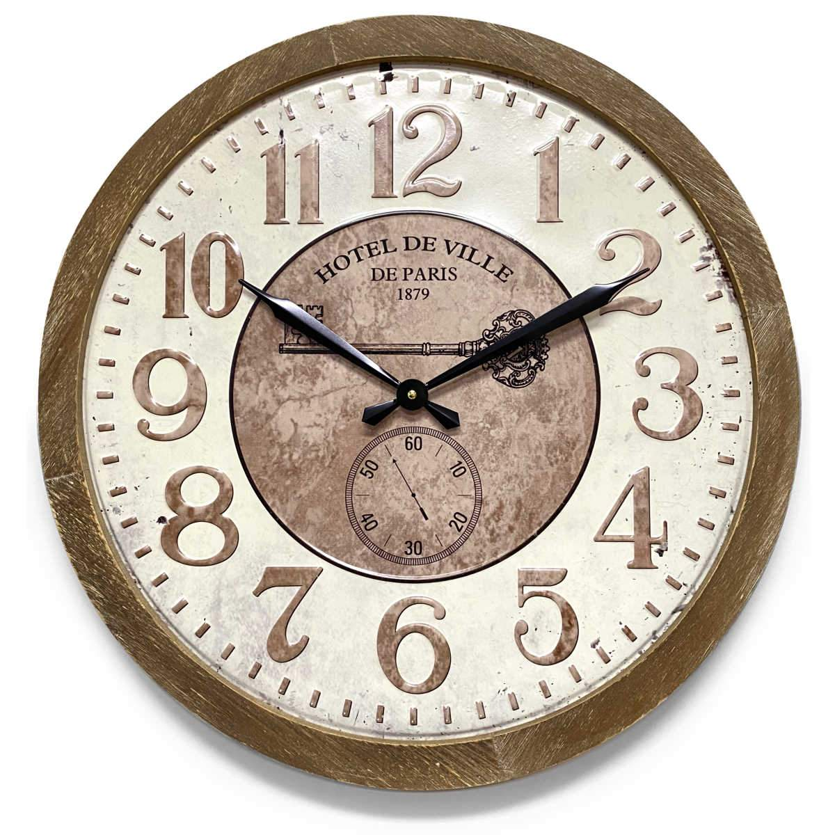 Victory Hotel De Ville Stamped Iron Wood Frame Wall Clock 60cm CHH-992 1